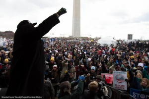 climate rally from stage